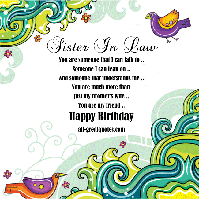 Free original birthday cards for Sister in law to share