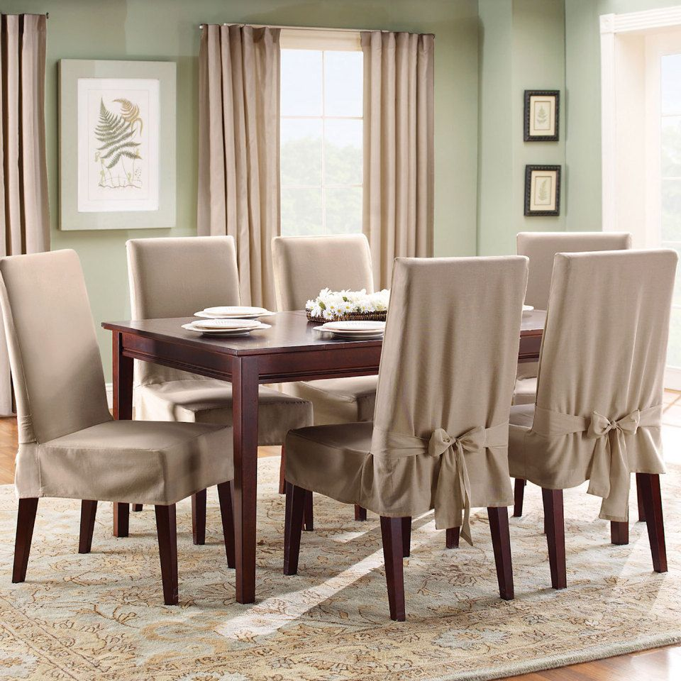 Surefit Cotton Duck Short Dining Room Chair Slipcover In