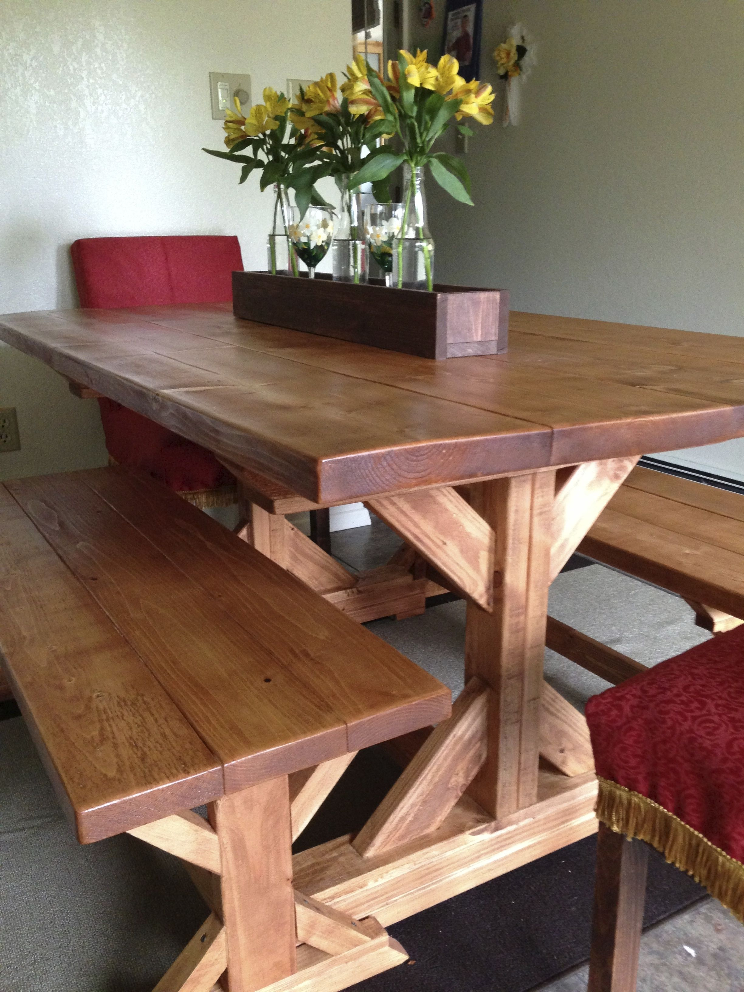 Fancy X Farmhouse Table and Benches. Plans at AnaWhite