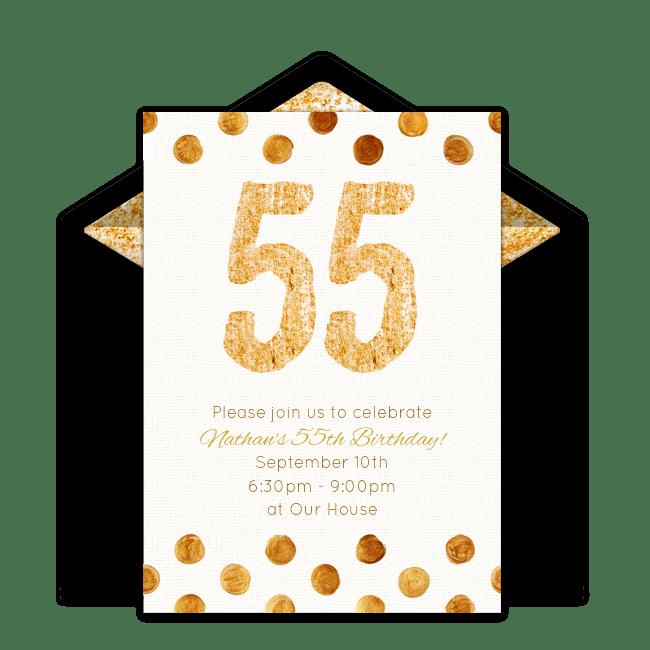 Free Golden 55 Invitations Milestone birthdays