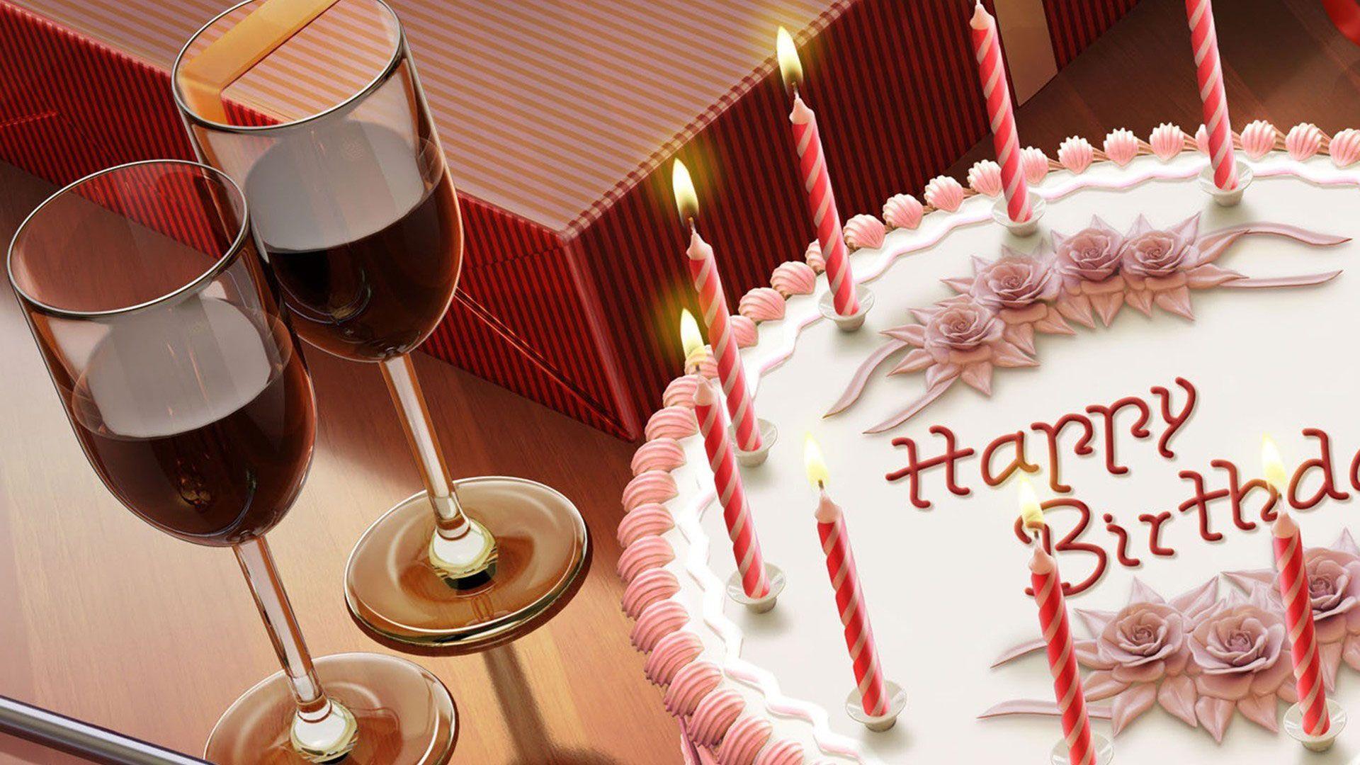 hd pics photos beautiful white cake candles happy birthday