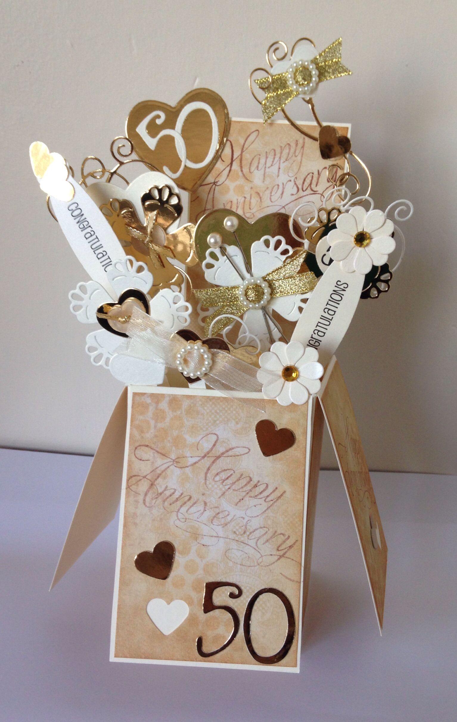 50th Wedding Anniversary card box / pop up card box