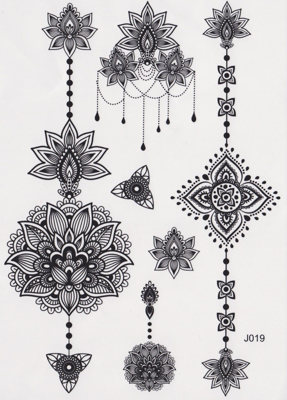 Aiyana Tribal Lotus Temporary Tattoo