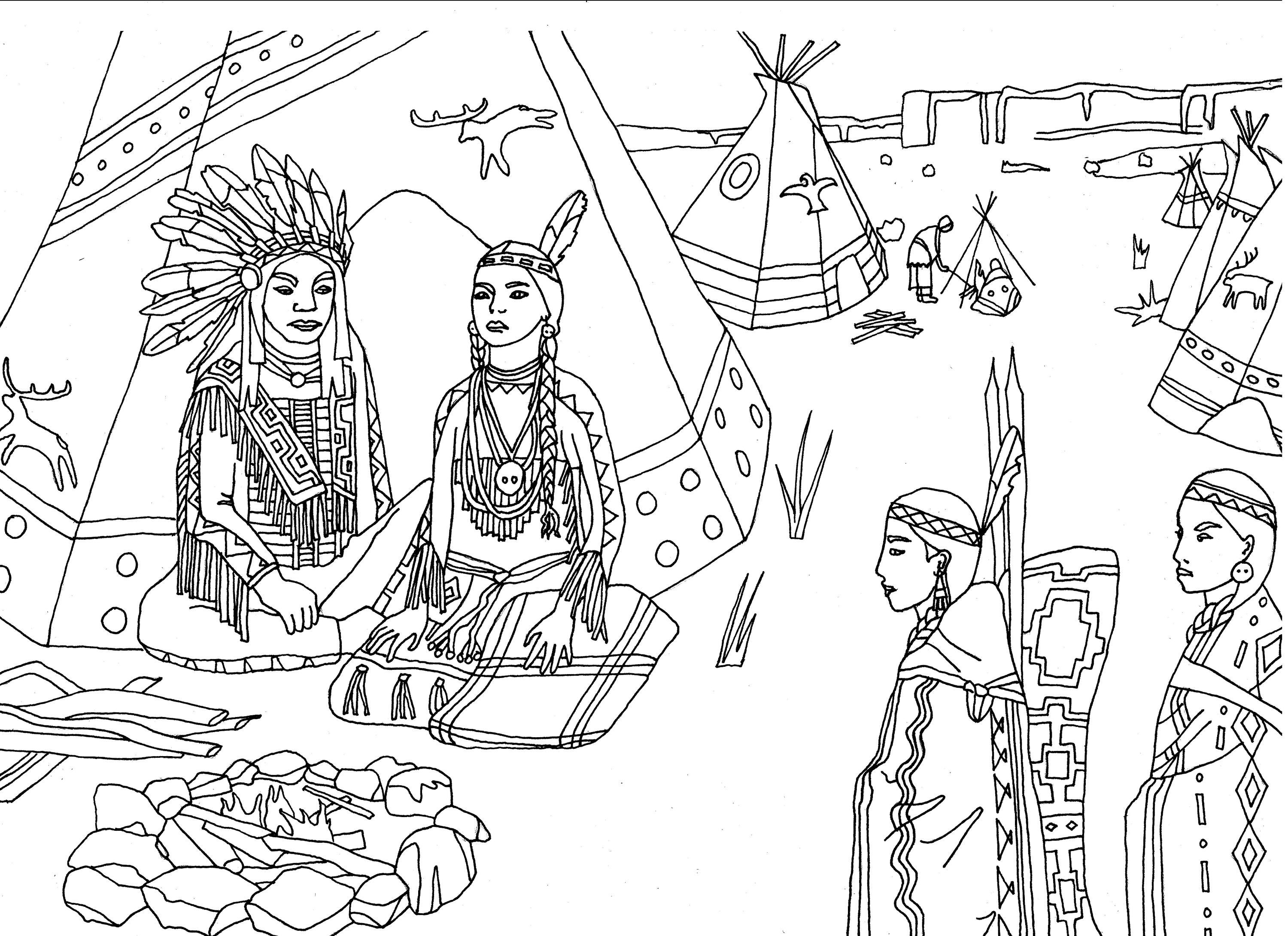 Free Coloring Page Coloring Adult Native Americans Indians