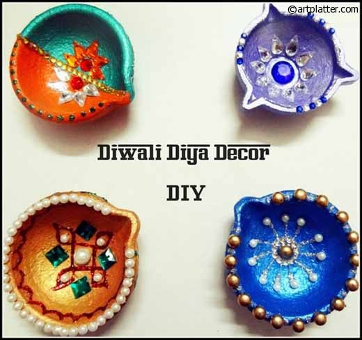 Decorative Diyas For Diwali Metallic Shades