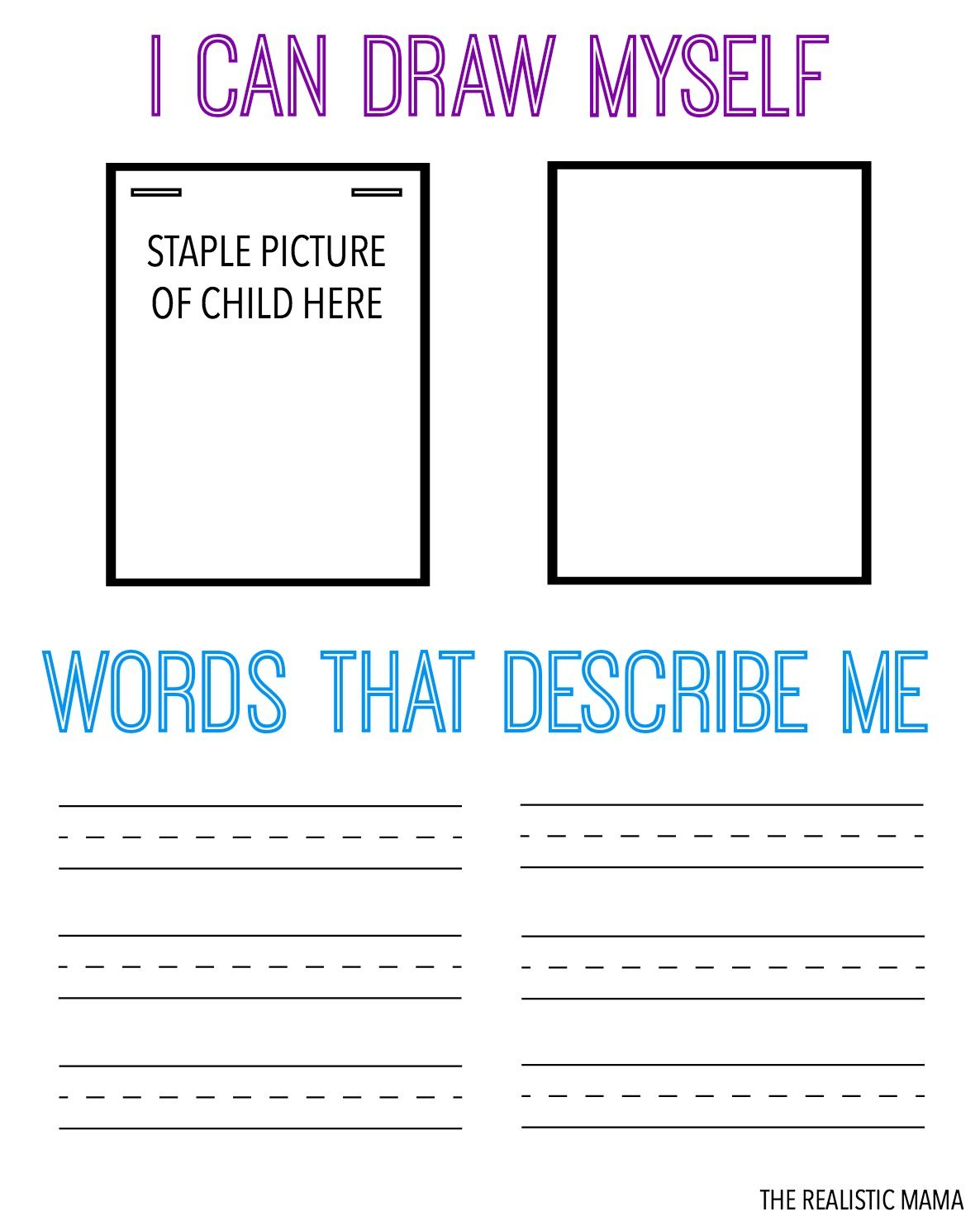 Draw Amp Describe Yourself Free Printable For Kids