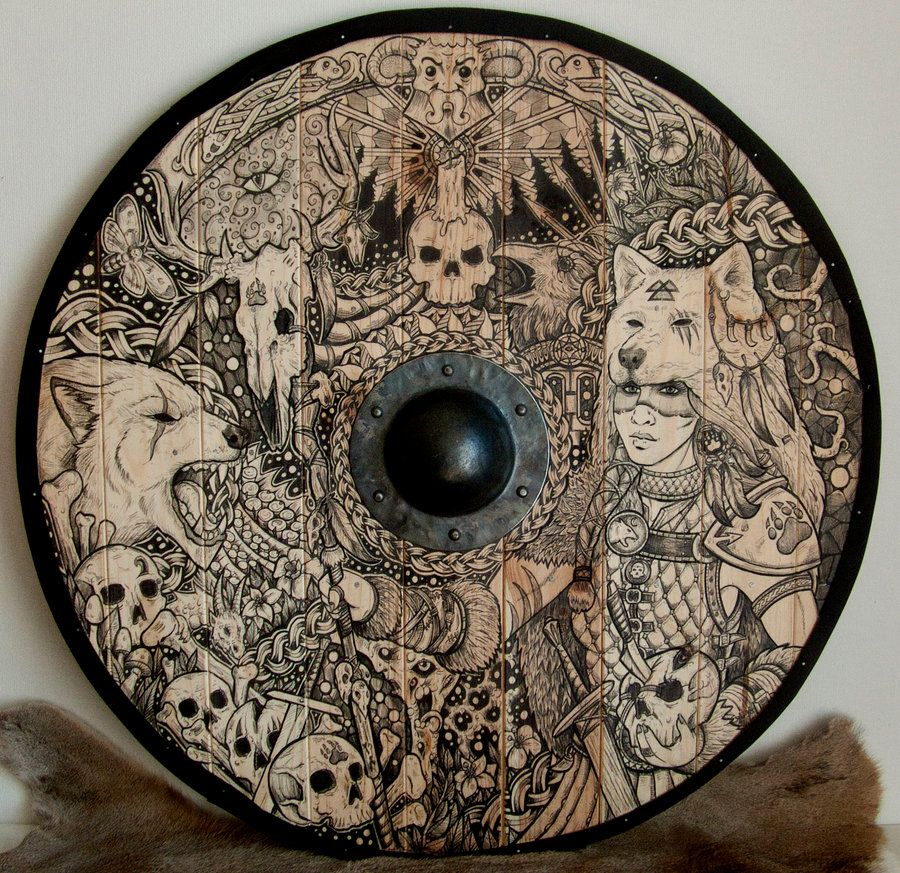 Wolf Priestess Shield by ZawArt Viking Norse fighter