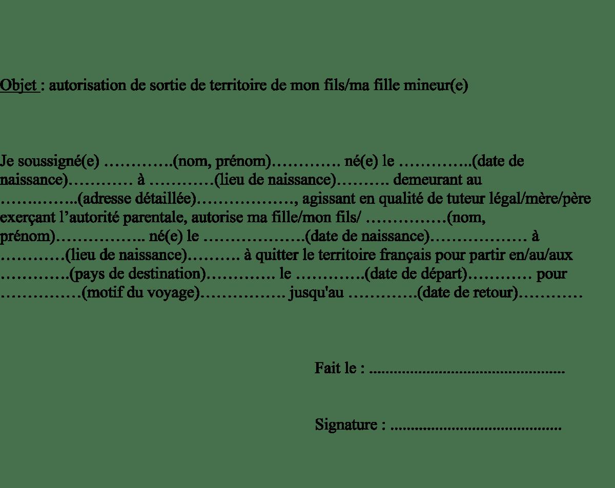 Modèle type lettre autorisation de sortie du territoire