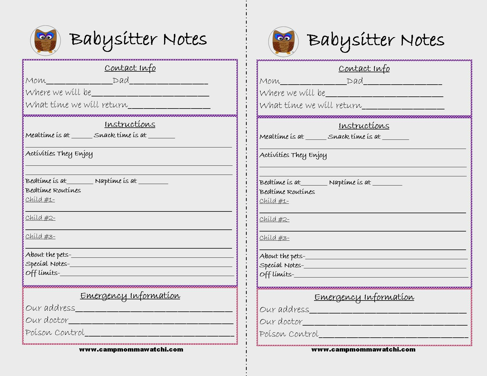 Printable Information For Baby Sitter