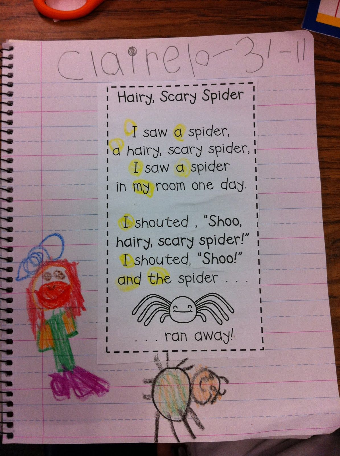 Poetry Notebook Highlight Sight Words And Underline Chunks Or Word Patterns