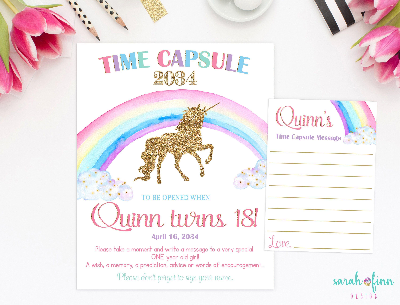 Unicorn Rainbow Time Capsule First Birthday Pink Gold Unicorn Capsule Sign Printable Baby