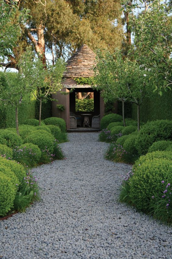 a path of gravel with high soft topiaries and boxwood