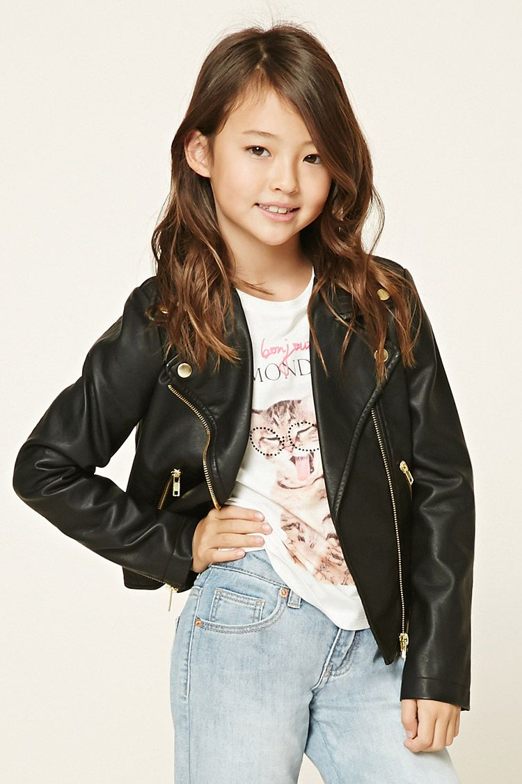 Forever 21 Girls A faux leather moto jacket featuring a