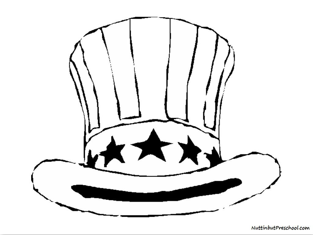 Fourth Of July Uncle Sam Hat Use It As A Coloring Page Or