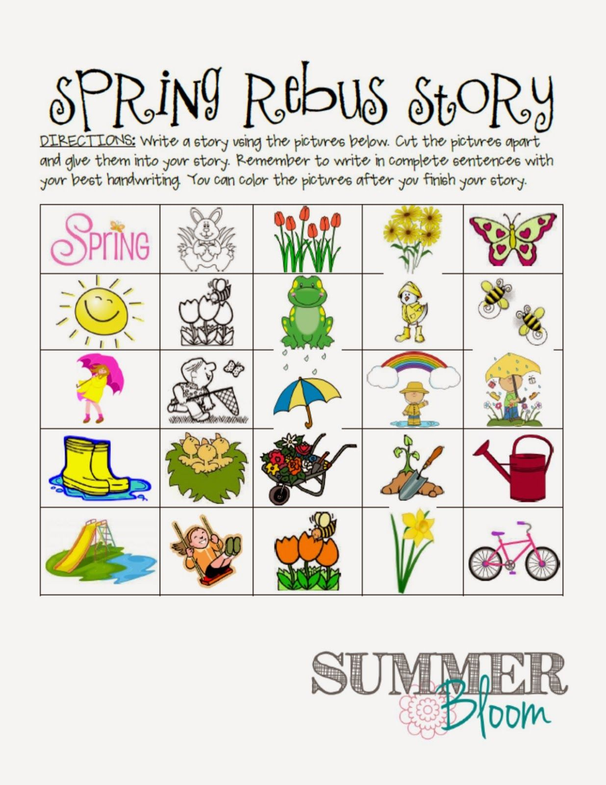 Spring Rebus Story FREEBIE perfect for spring in a work