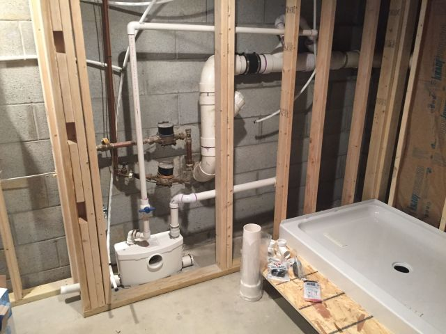 Saniflo bathroom with behind wall macerator