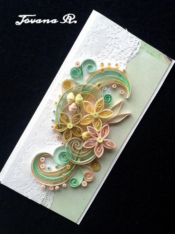 Unique handmade greeting card, Wedding greeting card