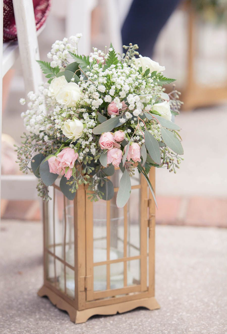White, Ivory and Light Pink Centerpiece Flowers in Gold