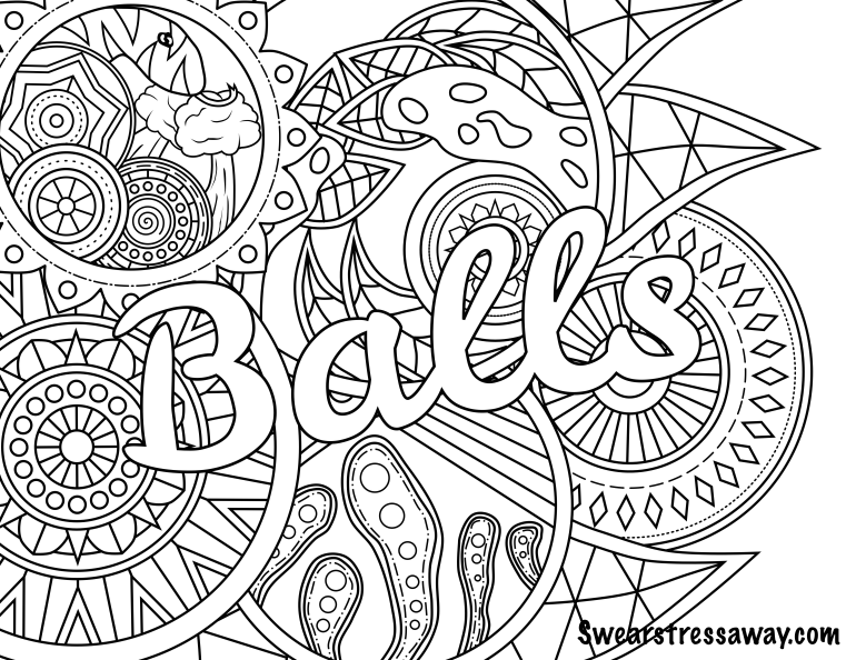 Balls - Swear Word Coloring Page - Adult Coloring Page ... | free printable coloring pages for adults only swear words
