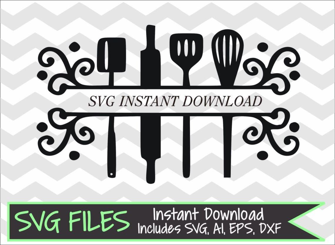 Download Split Kitchen Utensils SVG DXF eps ai Cutting File for ...