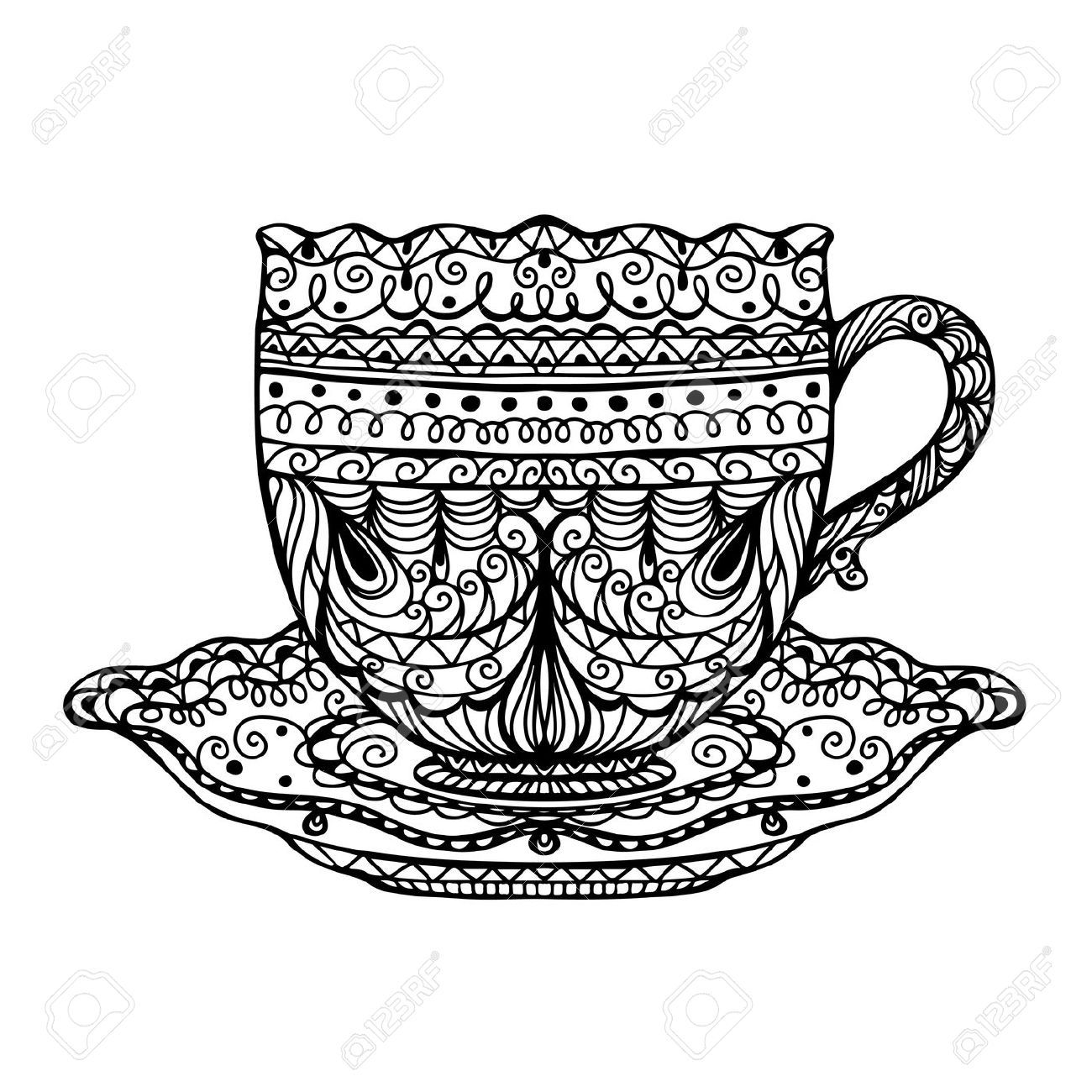 Vintage Tea Cup Icon Vector Royalty Free Cliparts