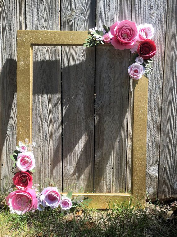 Gold Floral Frame Photo booth prop by Winterlandstudios on