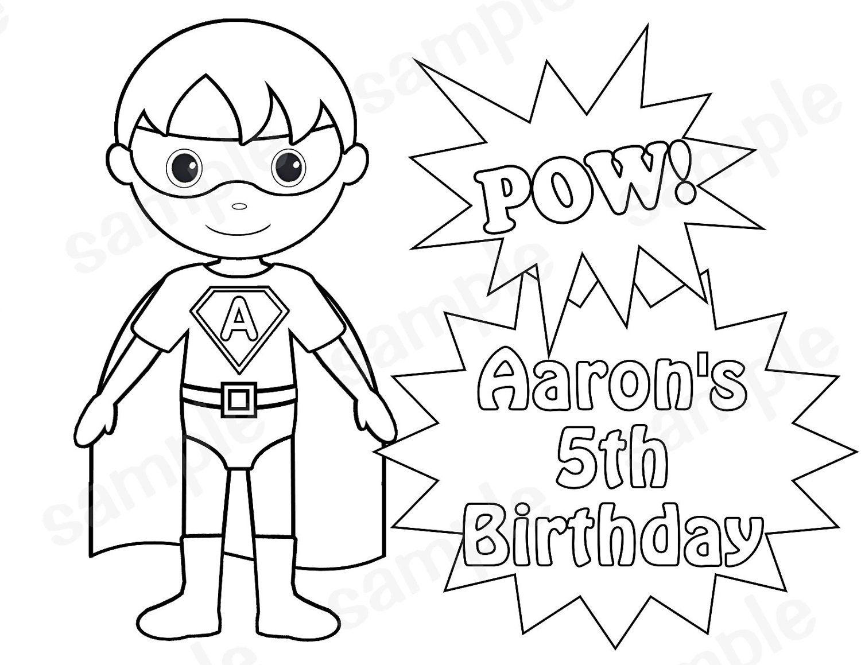 Personalized Printable Superhero Boy Birthday Party Favor