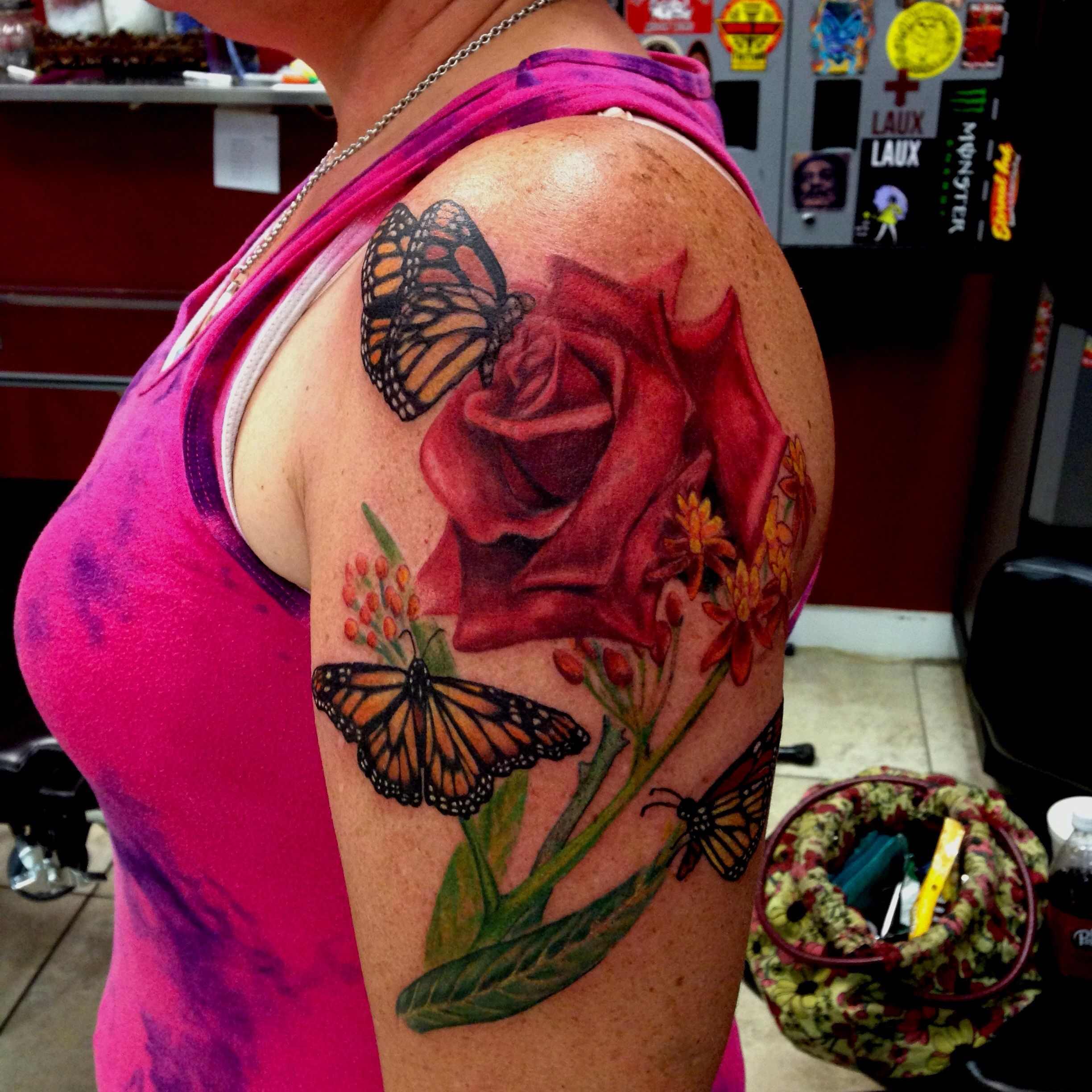 Rose and butterfly tattoo by Mike Ashworth Butterfly and