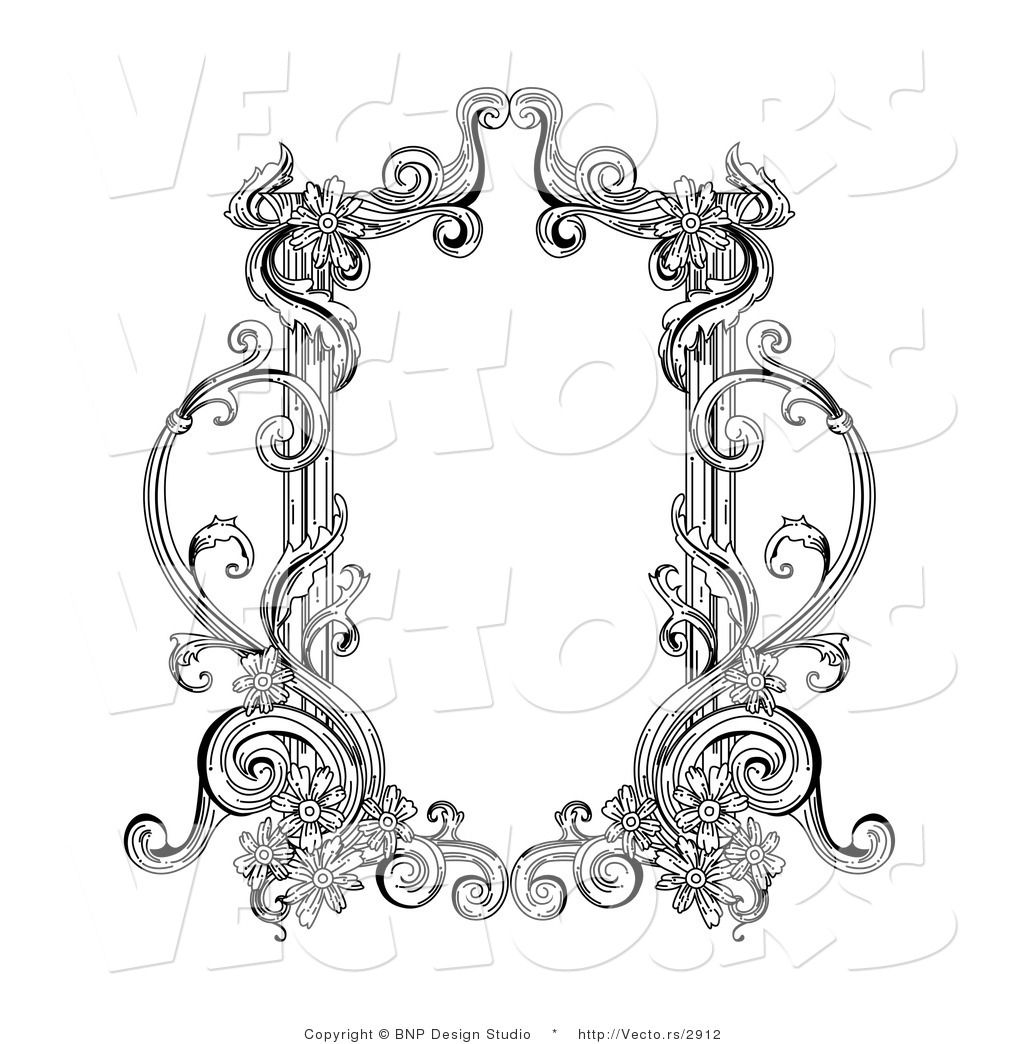 Vector of Old Black and White Victorian Blank Text Box