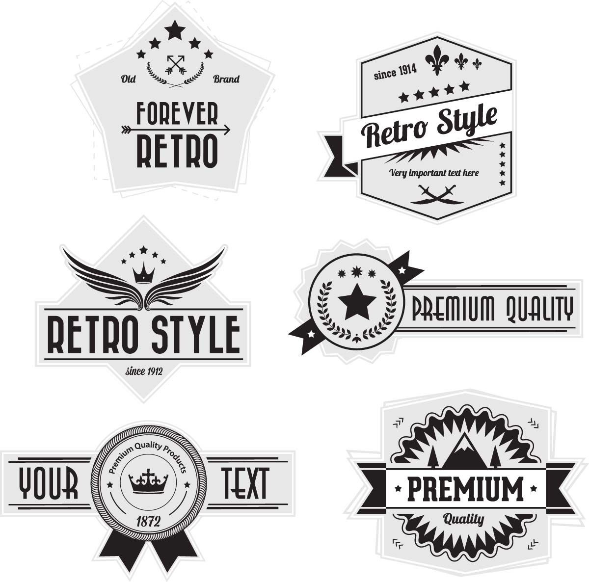 Badges and labels retro style vector FREE Vector clip