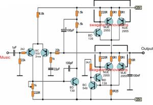 Simple 20 watt Amplifier Circuit | Electronic Circuit