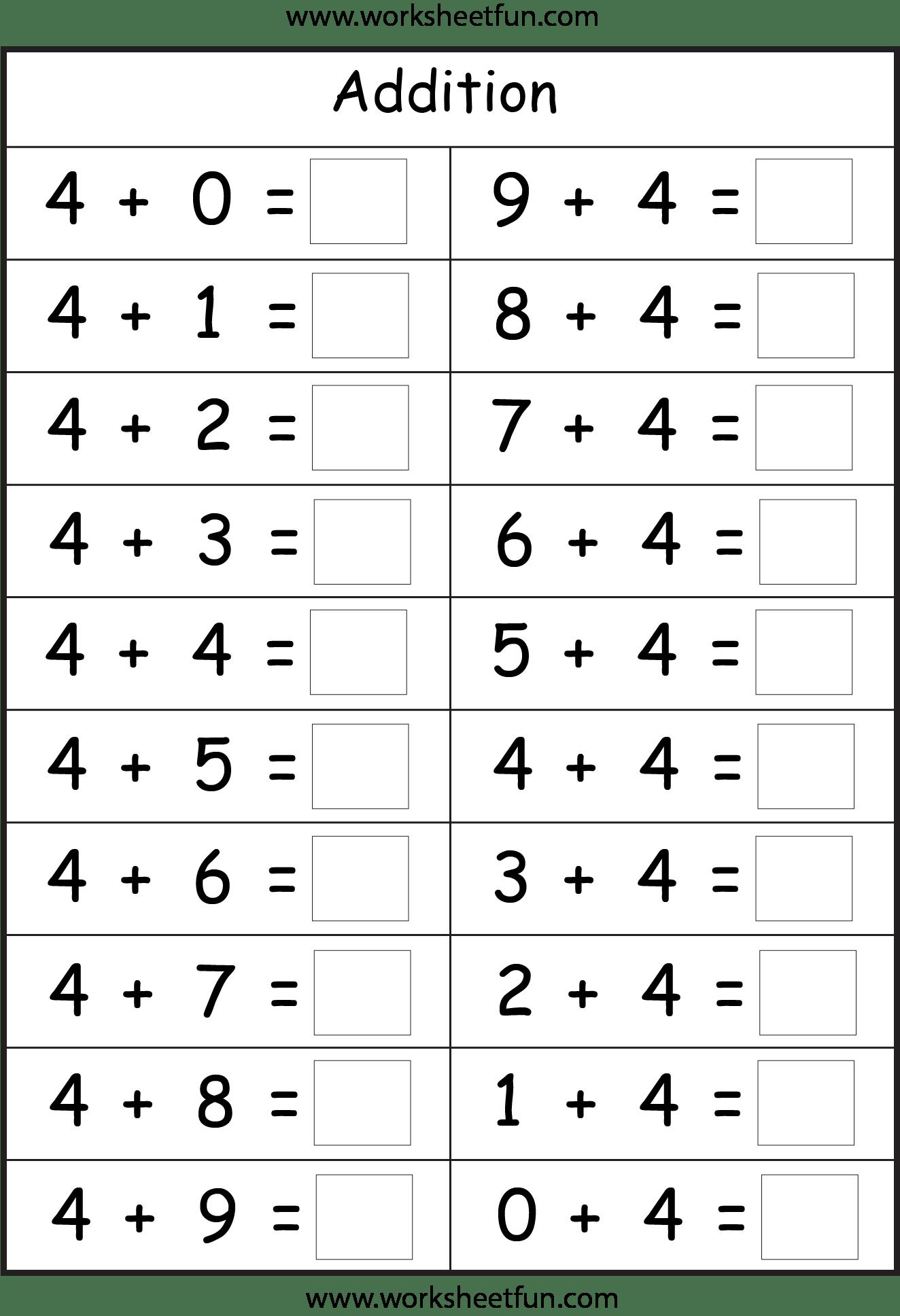 Missing Addend Worksheet For First Grade