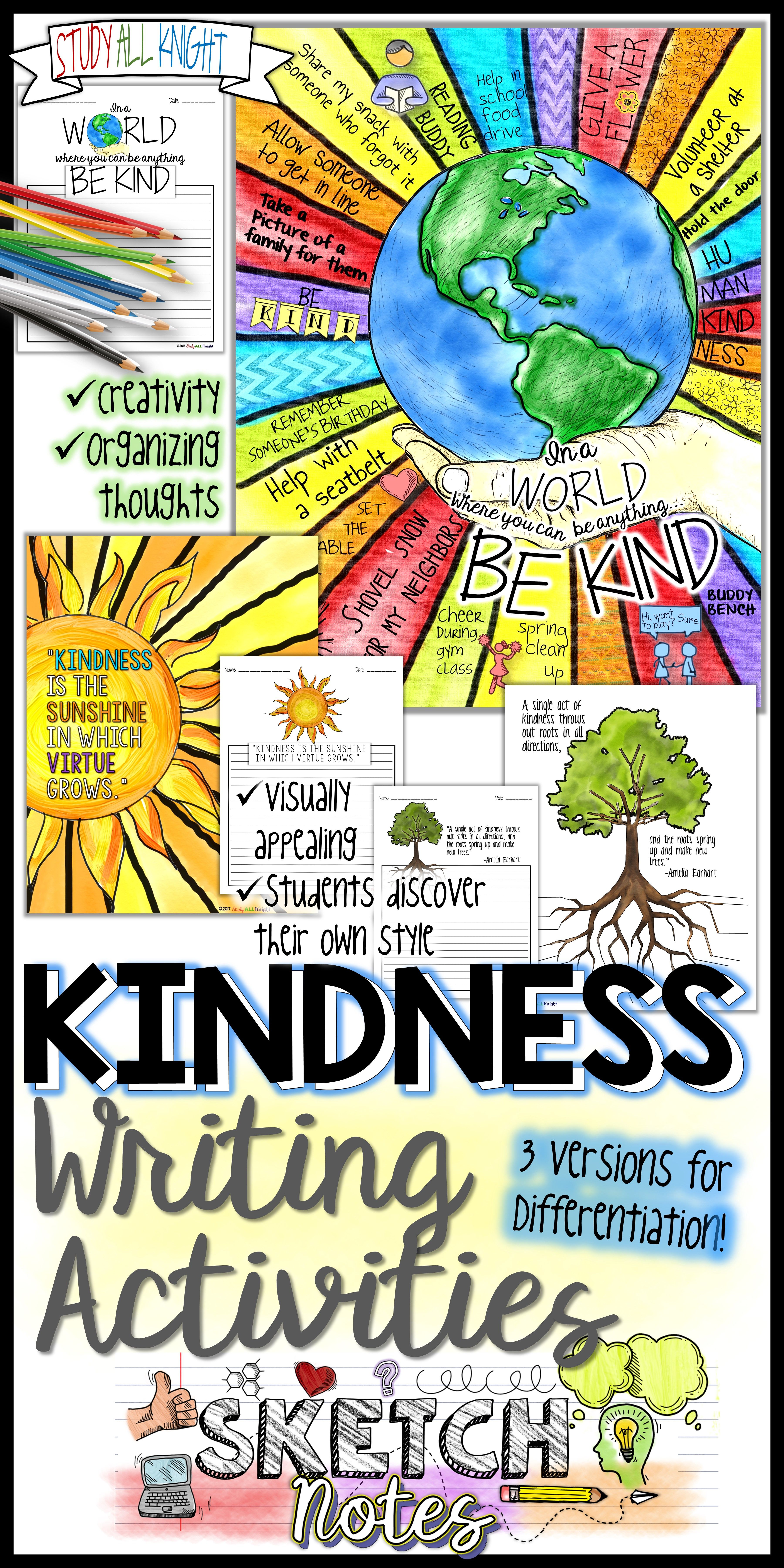 Kindness Writing Activity Quotes Student Choices Sketchnotes Teacher Instructions Kindness