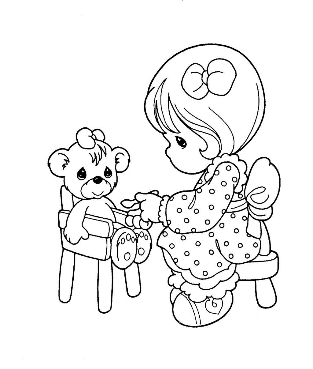 Precious Moments Was Playing Her Doll Coloring Pages For
