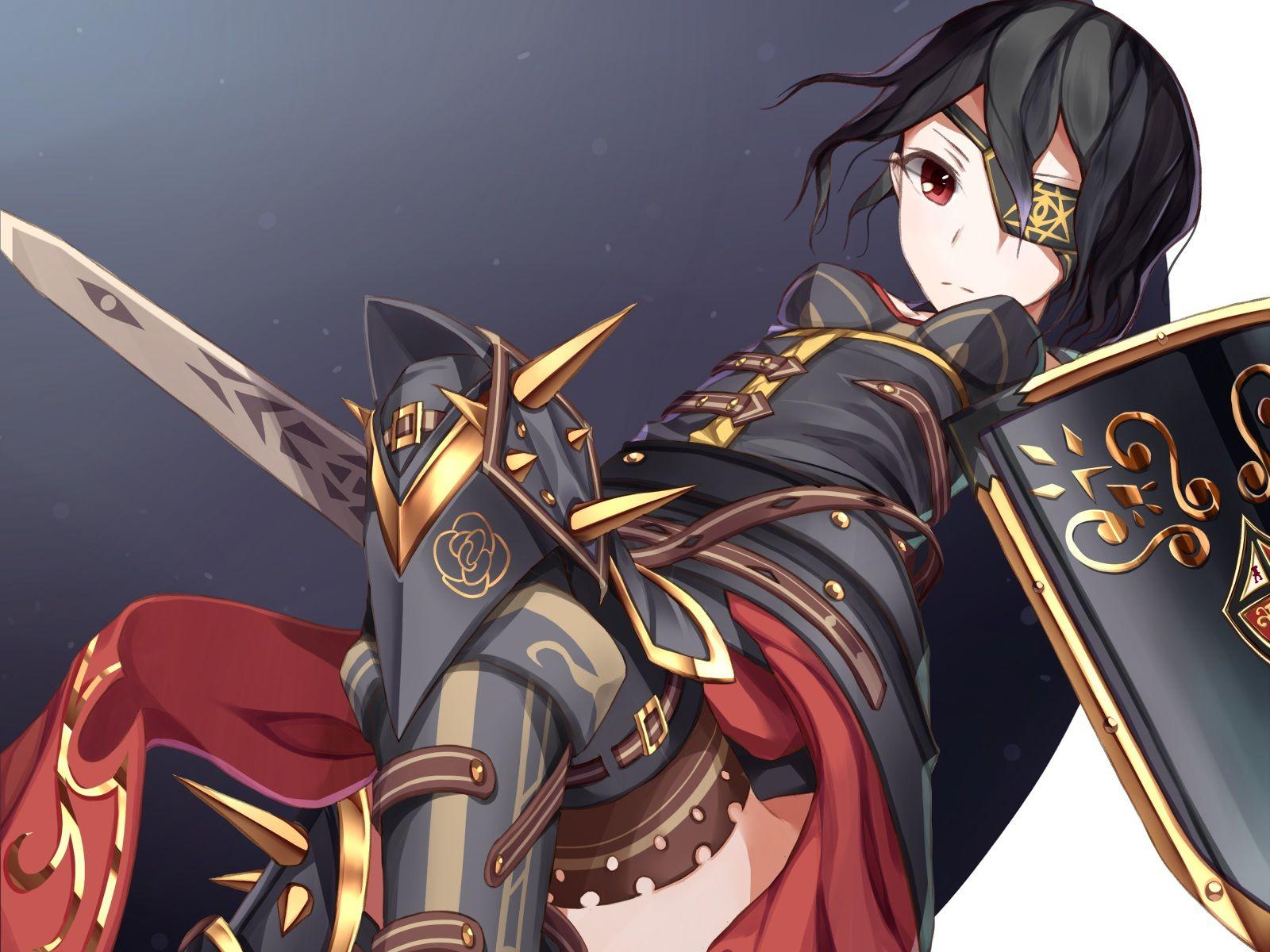Original armor atha black hair eyepatch original sword