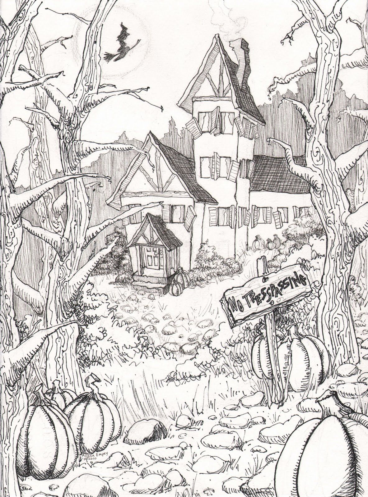 Halloween Coloring Pages Colouring Adult Detailed Advanced