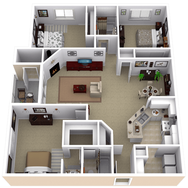 Repined Two Bedroom Apartment Layout Más