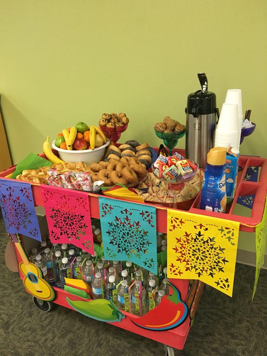 Cinco De Mayo snack cart pushed door to door for teachers