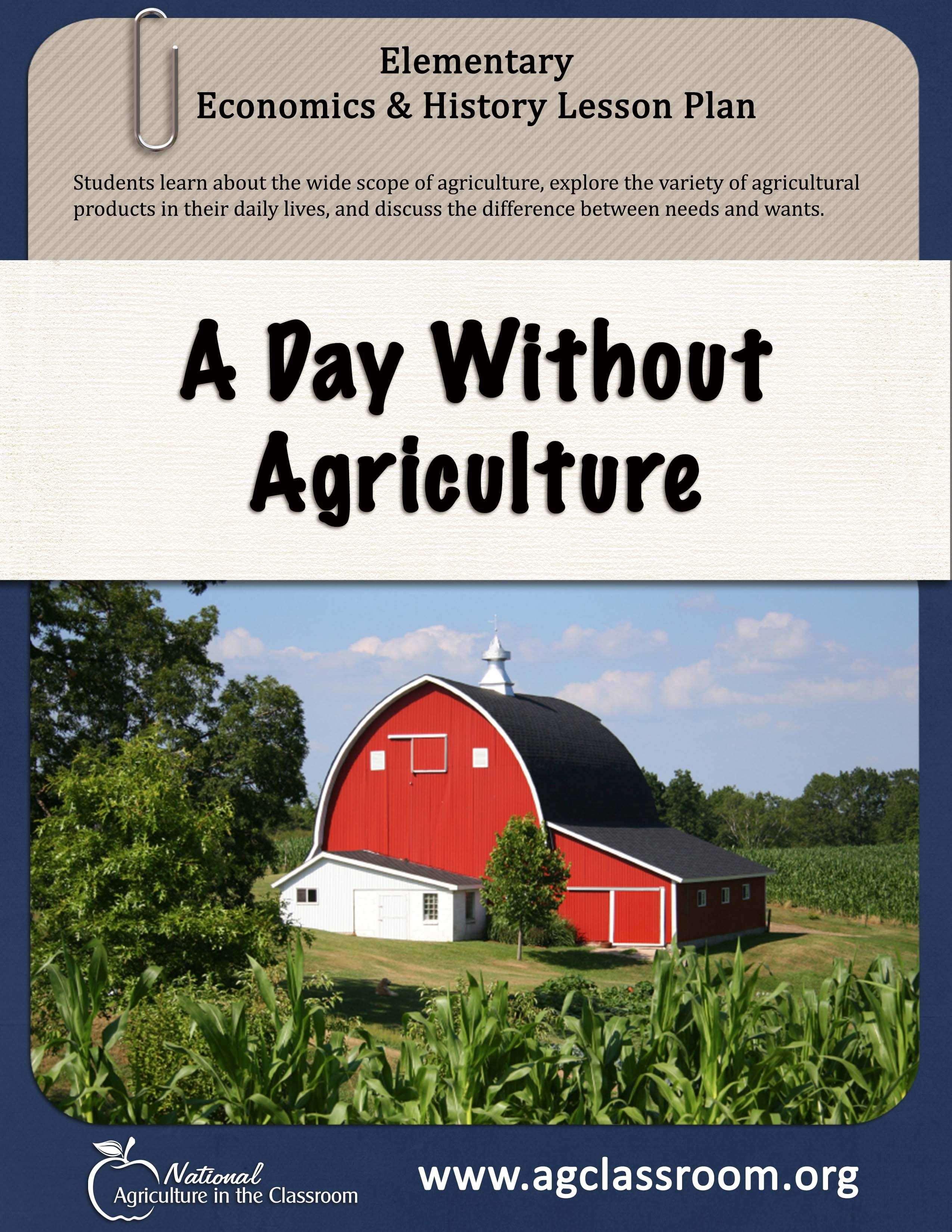 Lesson Plan And Activity Sheet Students Learn How Agriculture Impacts Their Daily Lives