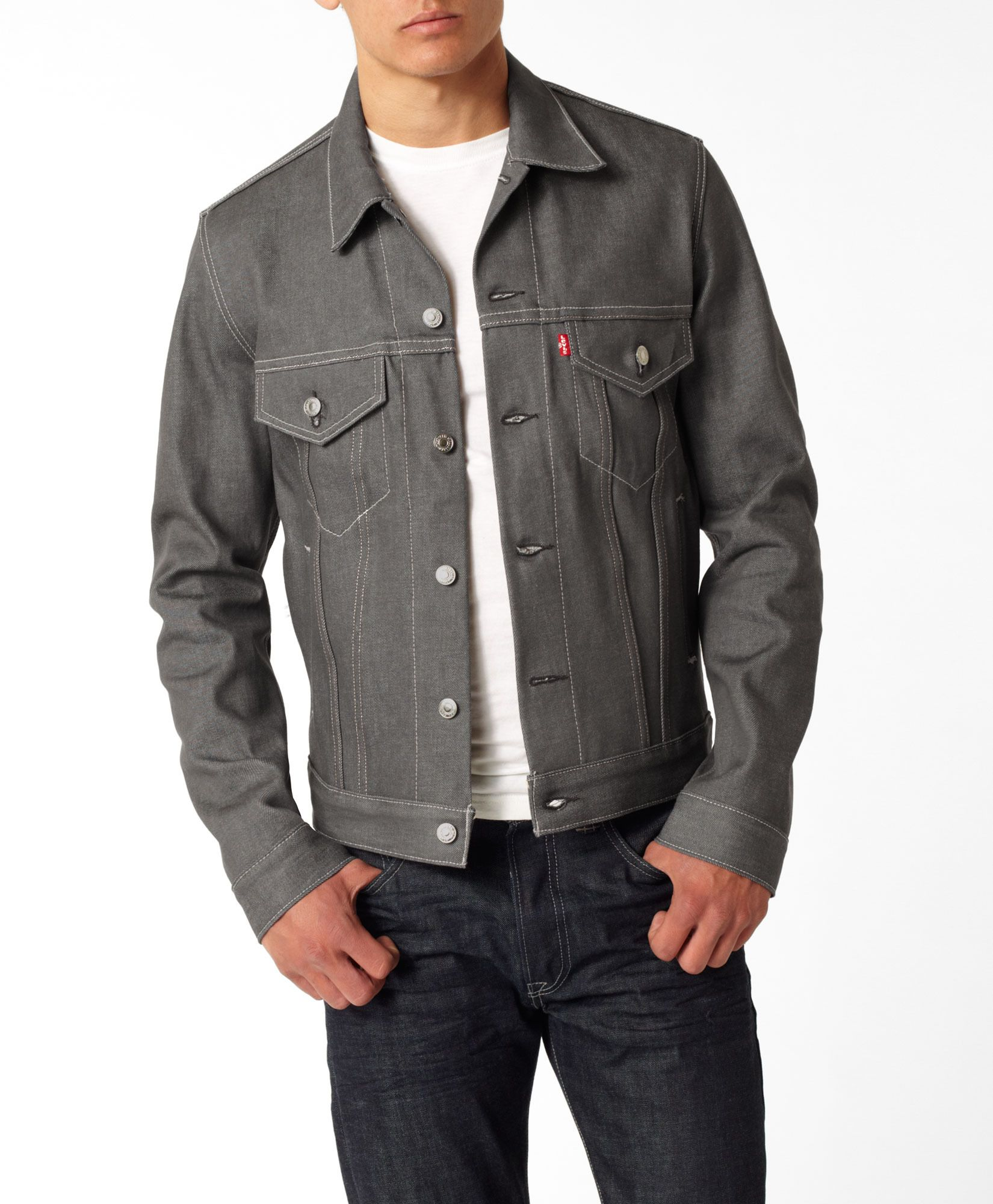Levi's Trucker Jacket in gray. I love it for men or women