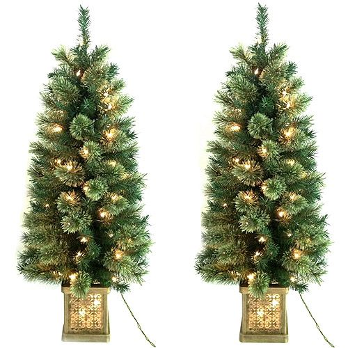 Holiday Time Pre Lit 4 Topiary Christmas Trees In Pots 2