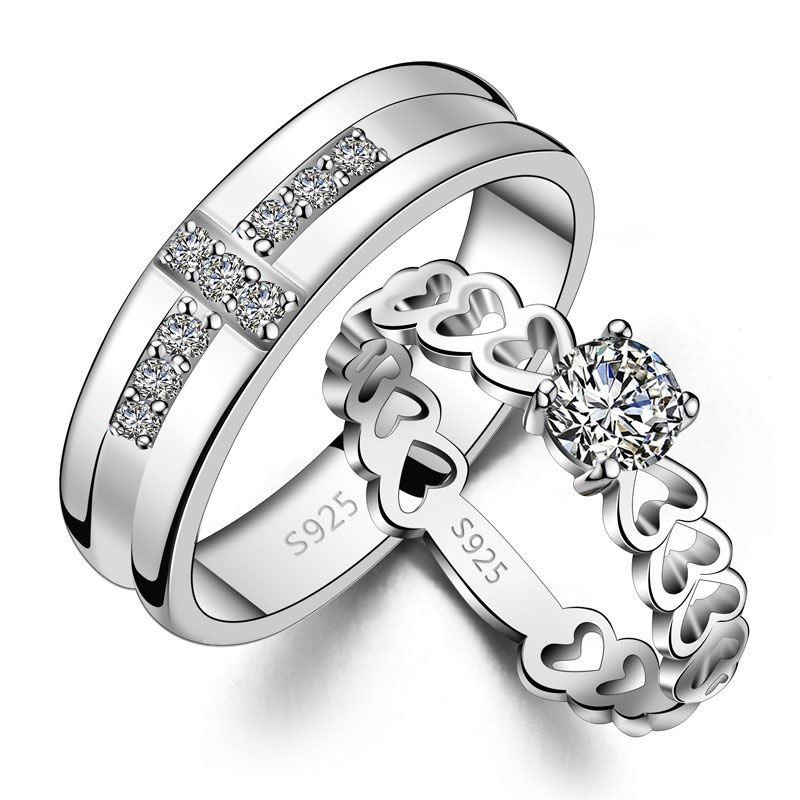His hers matching couple sterling silver cz rings set