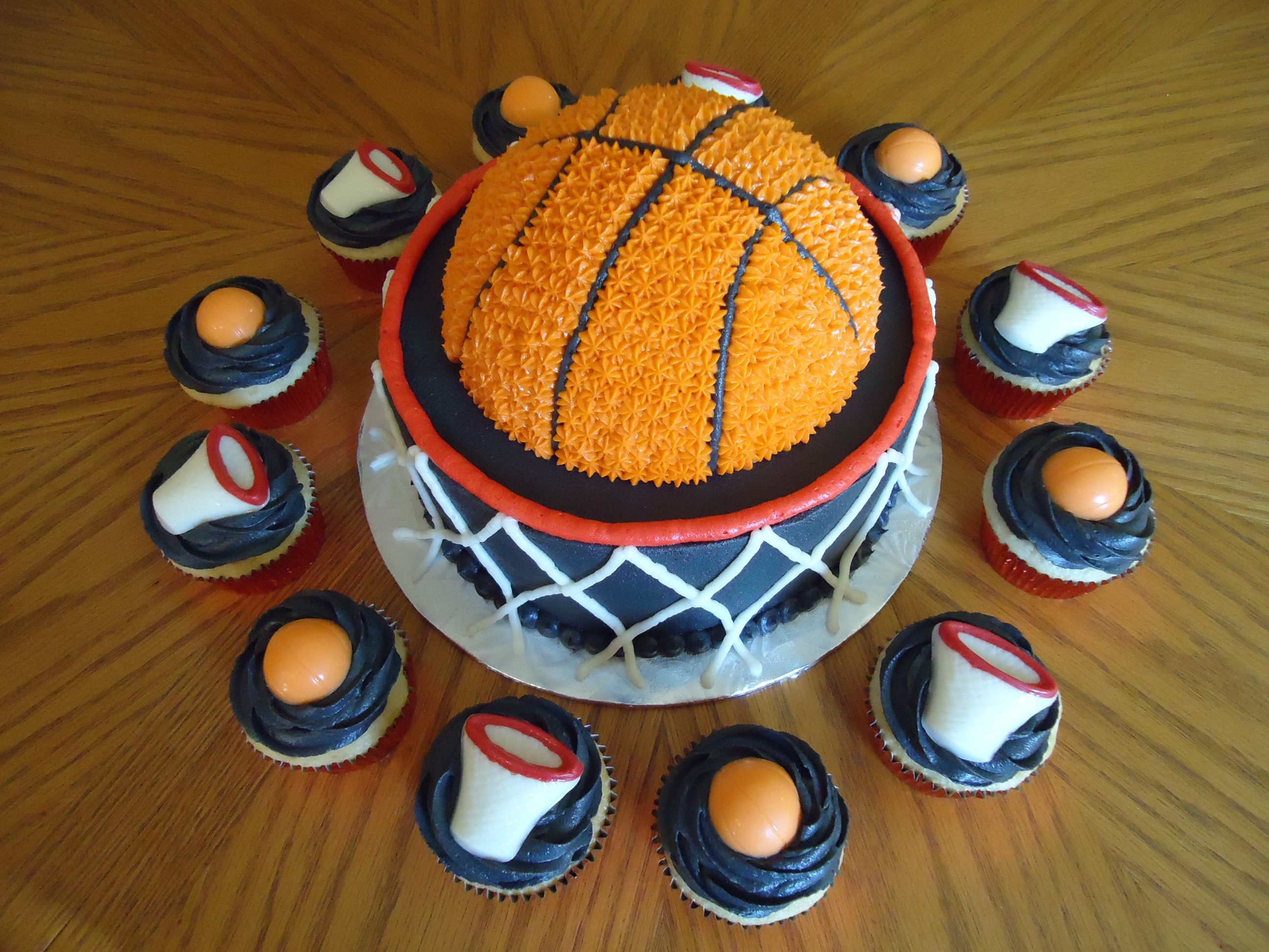 Basketball Cake With Matching Cupcakes
