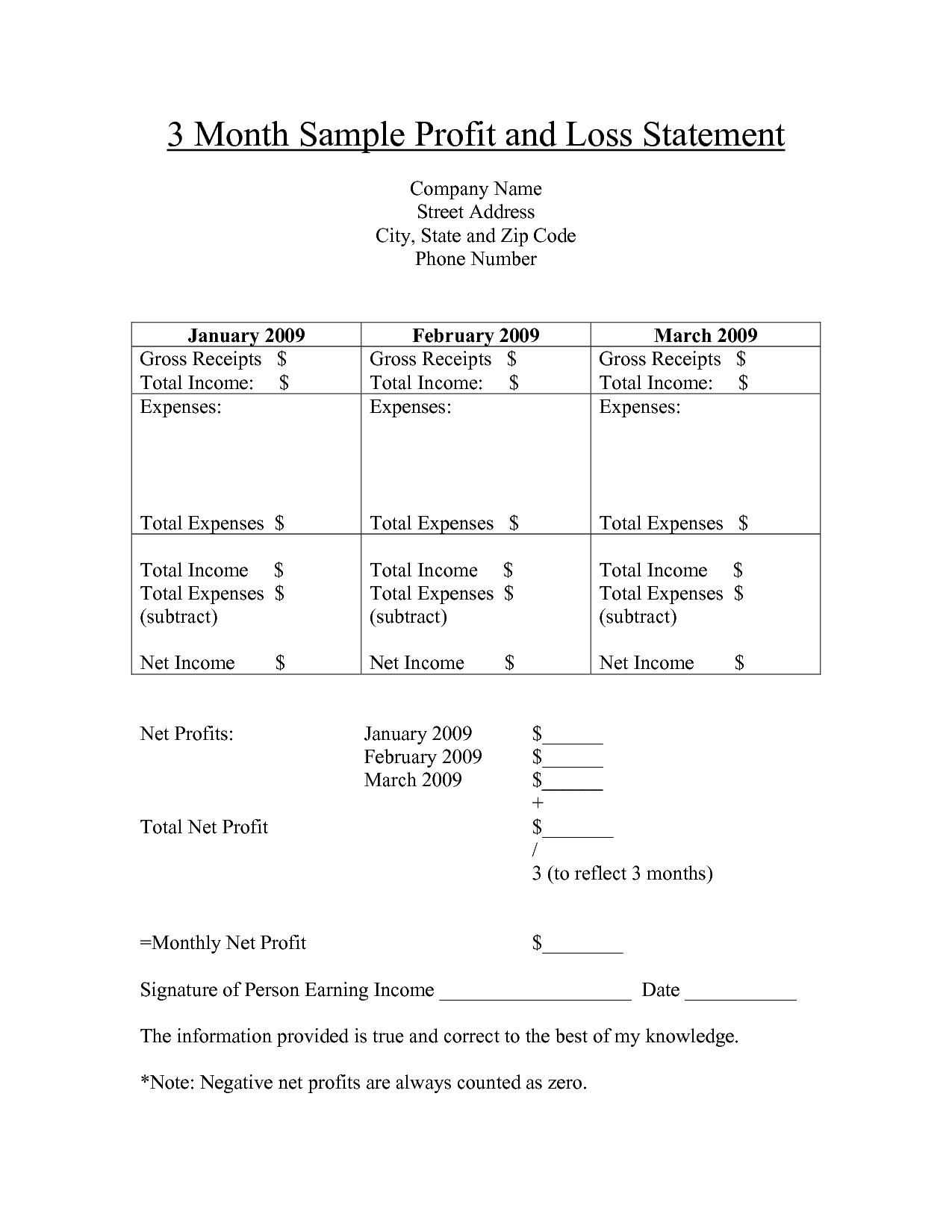 Free Printable Profit And Loss Statement Form For Home