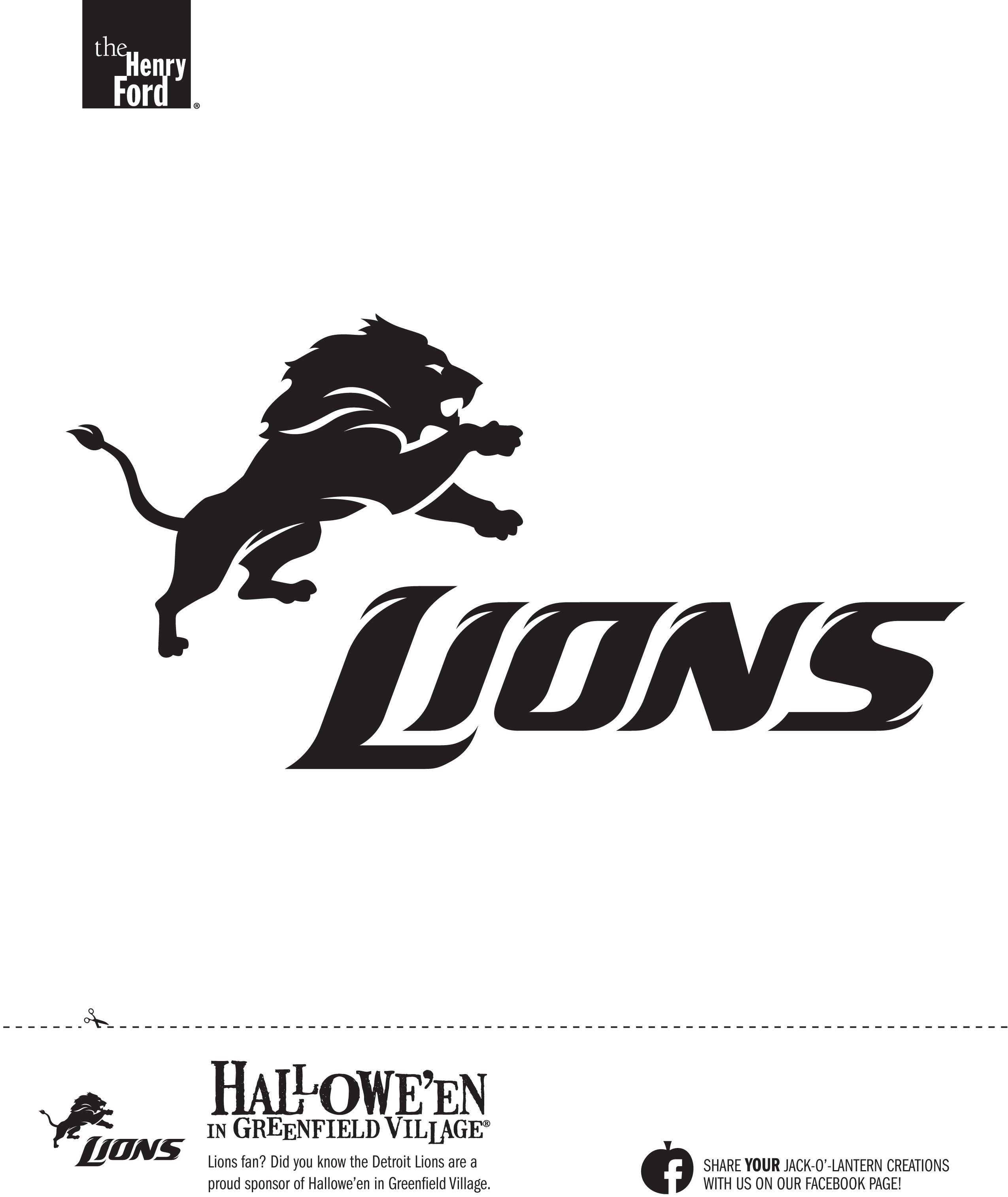 Detroit Lions Pumpkin Stencil