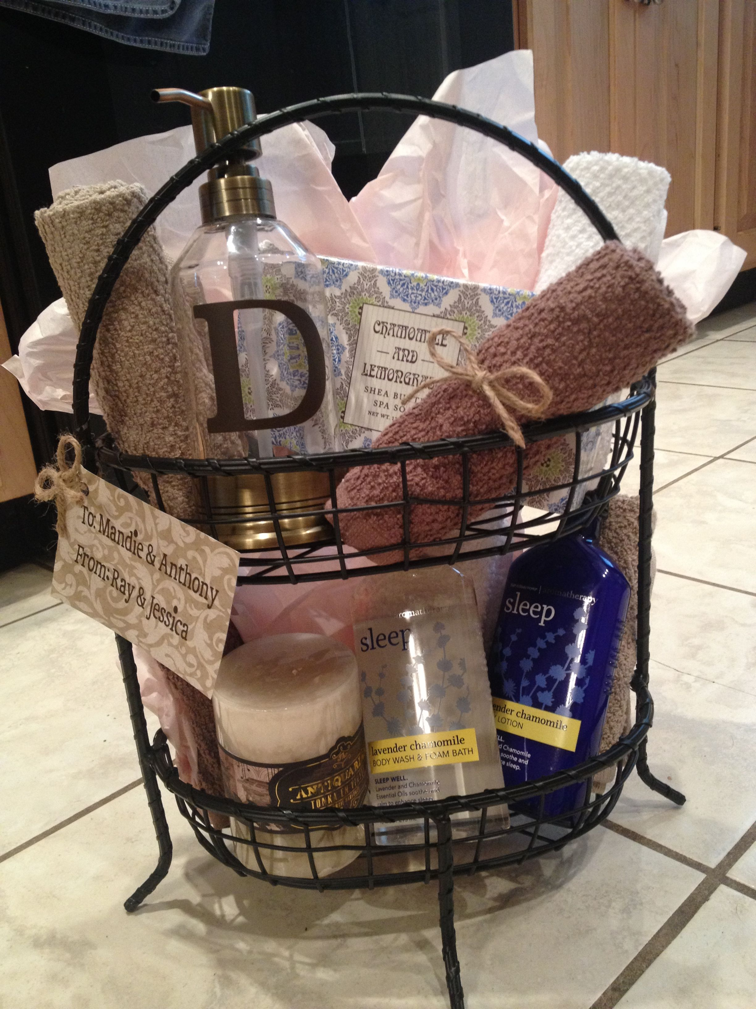 DIY gift basket. I made this for a wedding shower gift
