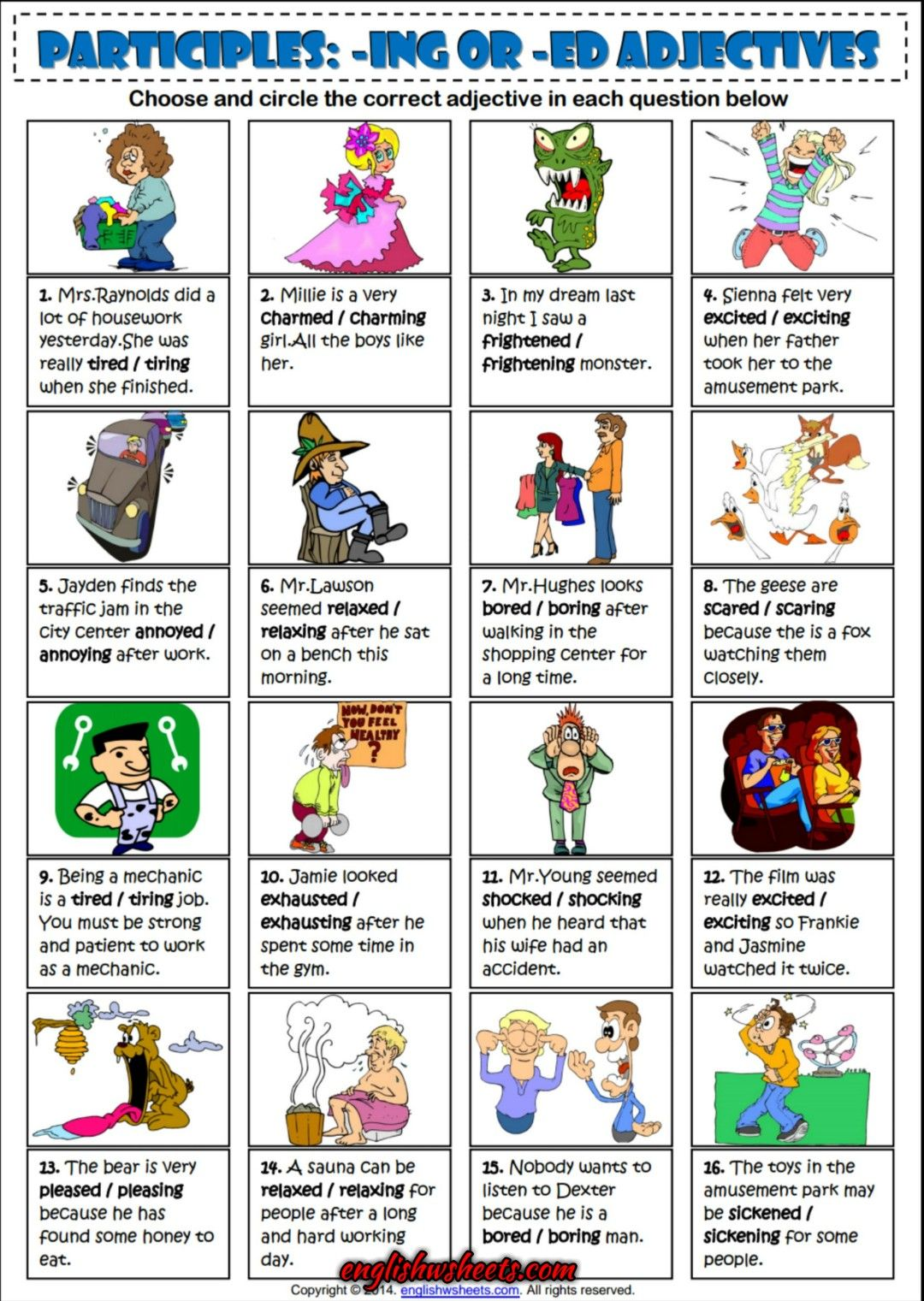Participles Ing Or Ed Adjectives Esl Exercise Worksheet