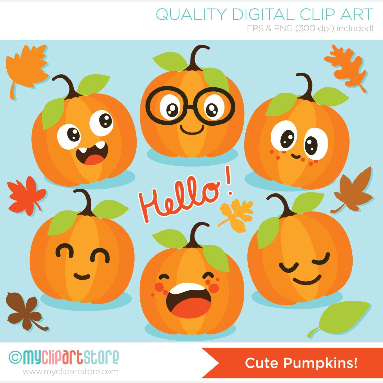 Clipart Cute Pumpkins / Fall / Autumn Leaves Digital