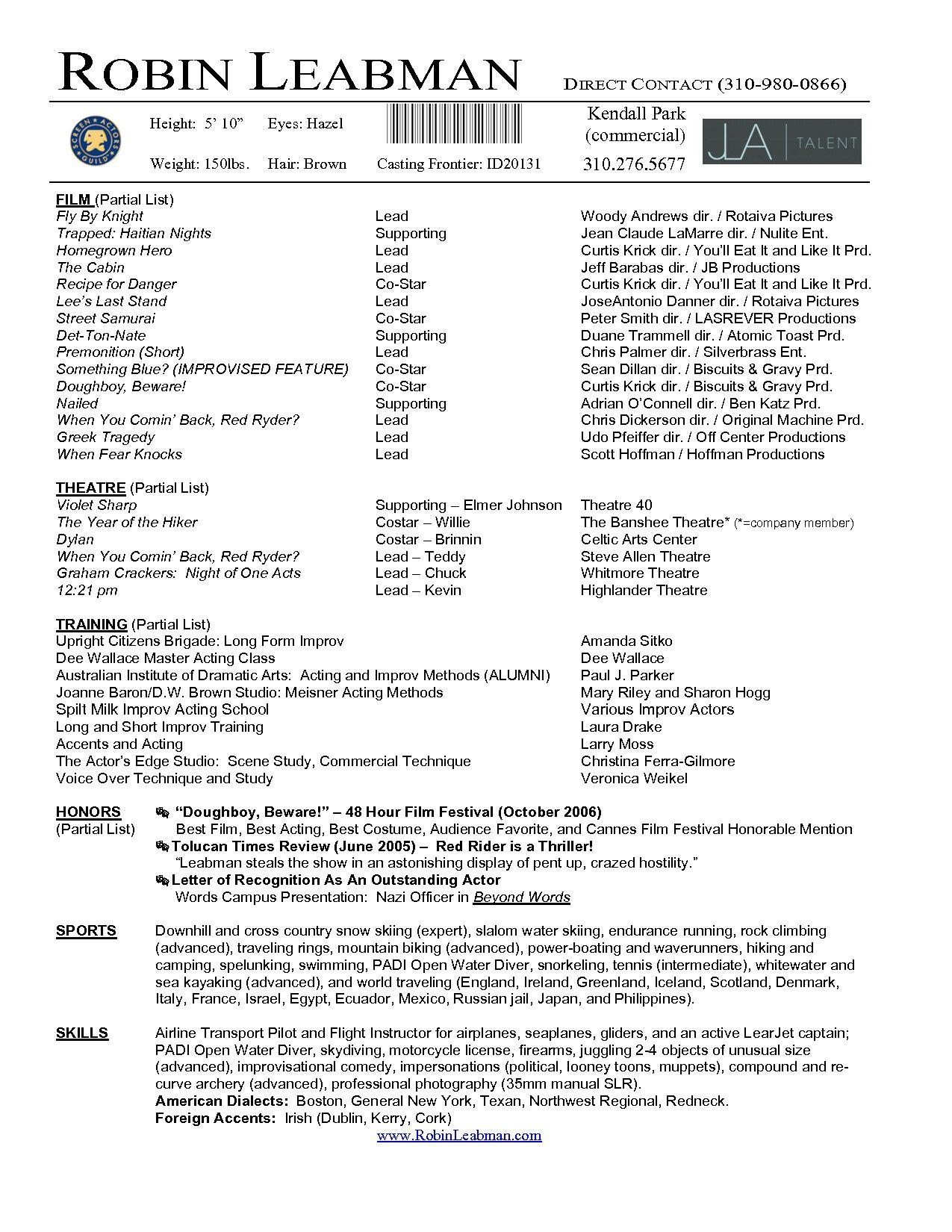 Actor Resume Template Microsoft Word