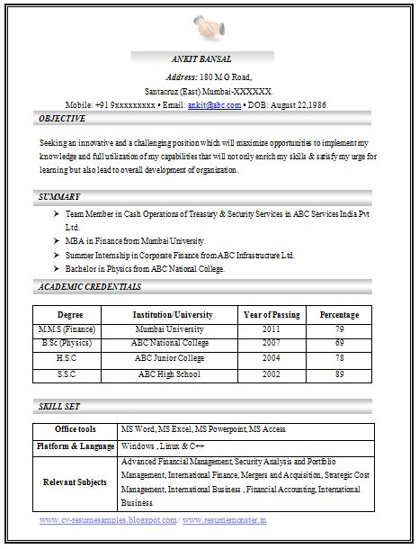 company resume format download first page resume and awesome